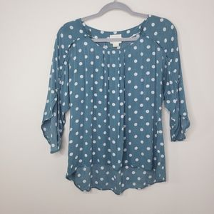 Anthro Maeve real and white polka dot pullover